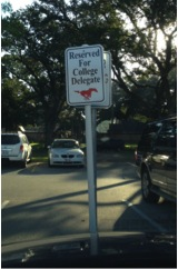 A reserved parking spot at Memorial High School in Houston. Amazing!